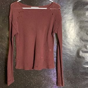 Rubbish- Thin Red Knit Distressed Sweater Medium
